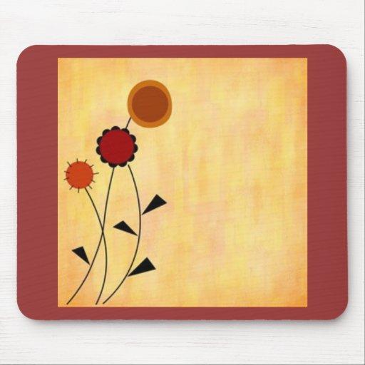 fondo anaranjado amelocotonado con las flores esti alfombrillas de raton