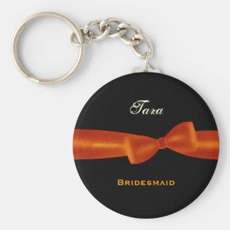 Fondo anaranjado E022 del negro del arco de la dam Llavero Redondo Tipo Pin