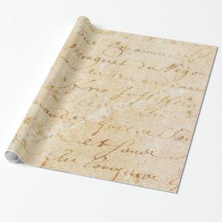 fondo antiguo francés de la escritura del vintage papel de regalo