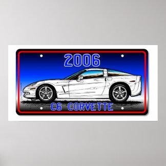 Fondo Arte-Azul 2006 de la placa del Corvette C6 Póster