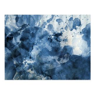 Fondo azul abstracto de la acuarela tarjeta postal