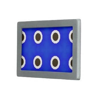 Fondo azul con los círculos retros verdes y hebilla cinturon rectangular
