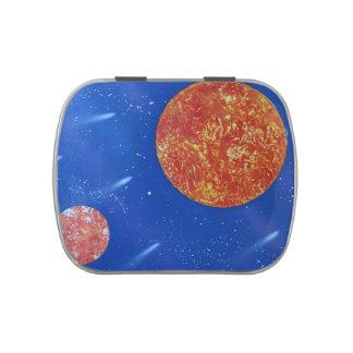 fondo azul de dos soles spacepainting frascos de caramelos