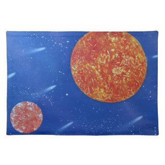 fondo azul de dos soles spacepainting manteles individuales