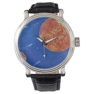 fondo azul de dos soles spacepainting reloj