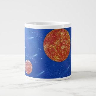 fondo azul de dos soles spacepainting taza grande