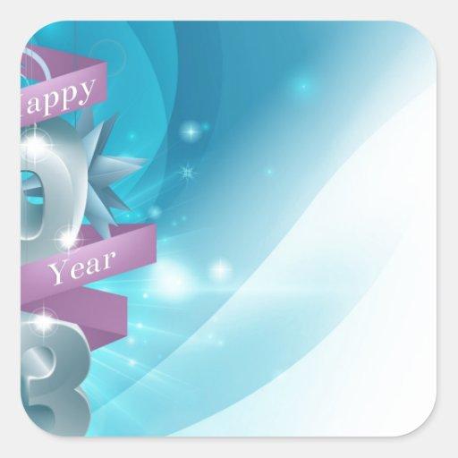 Fondo azul de Feliz Año Nuevo Pegatinas Cuadradas