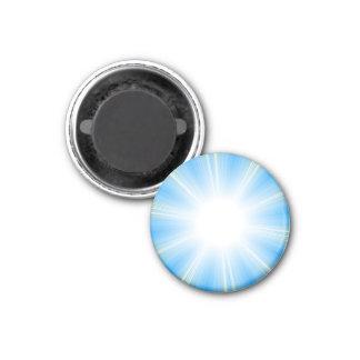 Fondo azul de la explosión de la estrella de llama imán redondo 3 cm