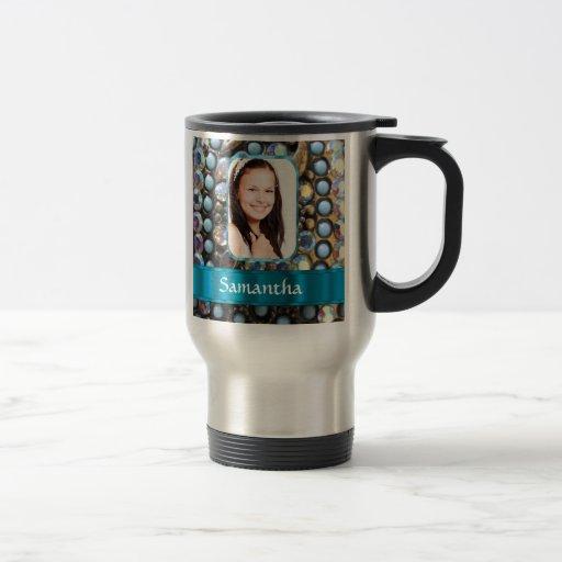 Fondo azul de la foto del diamante artificial tazas de café