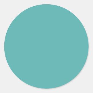 Fondo azul de la turquesa Color de la moda Elega Pegatinas Redondas