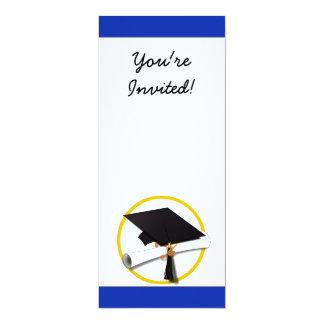Fondo azul del casquillo y del diploma de la comunicado