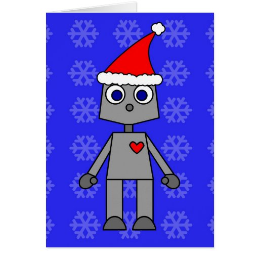 Fondo azul del copo de nieve de Santa del robot Tarjeta De Felicitación