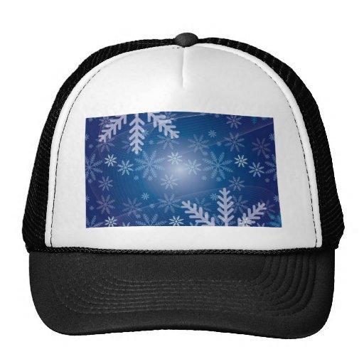 Fondo azul del copo de nieve del navidad gorra