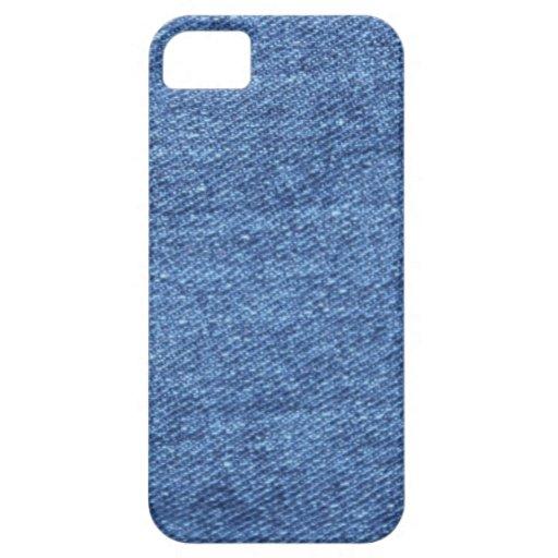 Fondo azul del dril de algodón de Jean iPhone 5 Cárcasa