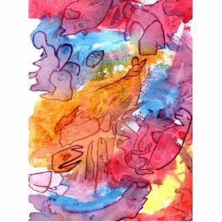 Fondo azul del extracto del watercolour del rojo a esculturas fotograficas