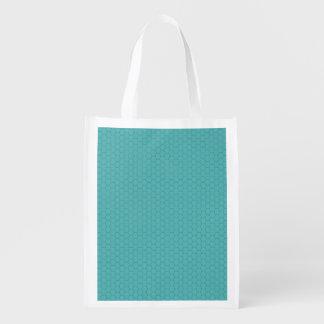 Fondo azul del modelo del Hexagram Bolsas De La Compra