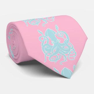 Fondo azul del rosa del calamar corbata personalizada