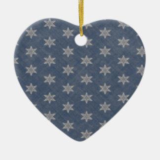 Fondo azul, estrellas y label de Londres Adorno Navideño De Cerámica En Forma De Corazón