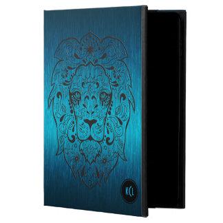 Fondo azul metálico del león del cráneo negro del