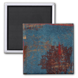Fondo azul oxidado del modelo imán cuadrado