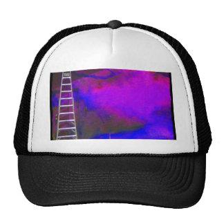 Fondo azul y negro púrpura con la foto de la escal gorros bordados