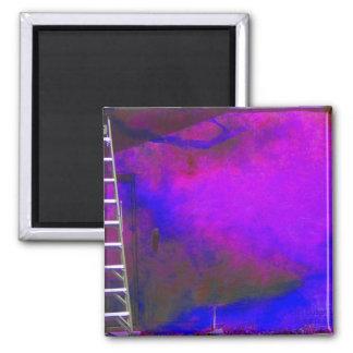 Fondo azul y negro púrpura con la foto de la escal imán cuadrado
