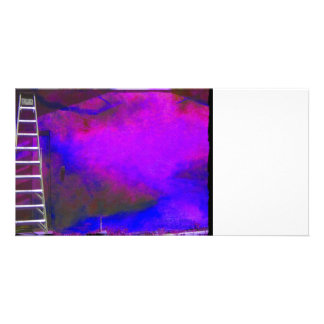 Fondo azul y negro púrpura con la foto de la escal tarjetas personales