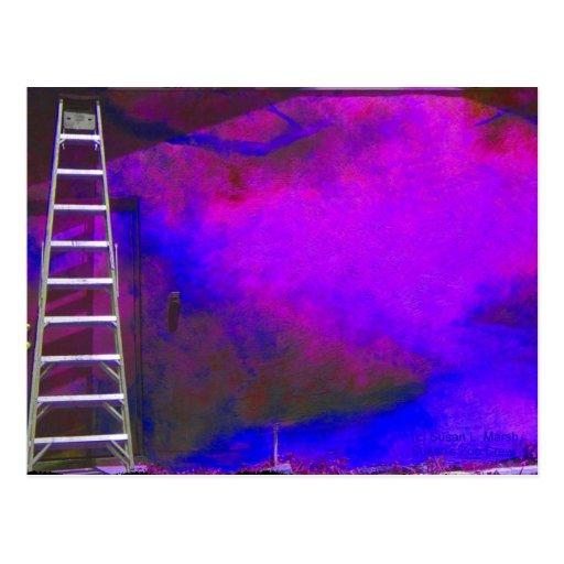 Fondo azul y negro púrpura con la foto de la postales