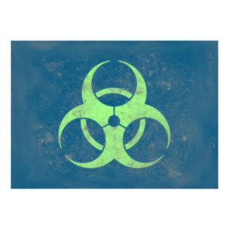 Fondo azulverde de la cal del Biohazard