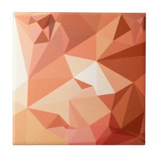 Fondo bajo abstracto anaranjado del polígono del azulejo cuadrado pequeño
