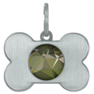 Fondo bajo abstracto del polígono del verde caqui placa de nombre de mascota