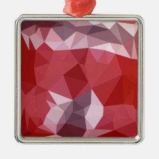 Fondo bajo abstracto rojo del polígono de la adorno navideño cuadrado de metal