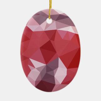 Fondo bajo abstracto rojo del polígono de la adorno navideño ovalado de cerámica