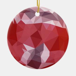 Fondo bajo abstracto rojo del polígono de la adorno navideño redondo de cerámica