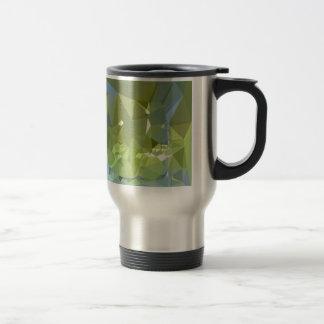 Fondo bajo abstracto verde del polígono de la taza térmica