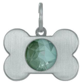 Fondo bajo abstracto verde del polígono de Zomp Placa De Nombre De Mascota