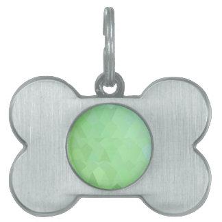 Fondo bajo abstracto verde del polígono del ajenjo placas de nombre de mascota