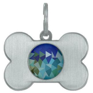 Fondo bajo del polígono del extracto azul del placas de nombre de mascota