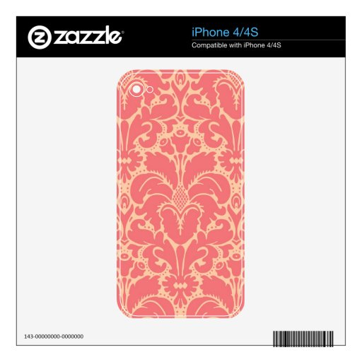 Fondo barroco del damasco del estilo iPhone 4S skins