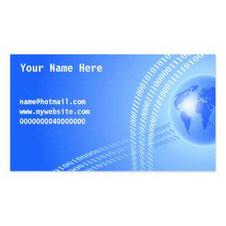 Fondo binario del globo, su nombre aquí, tarjetas de visita
