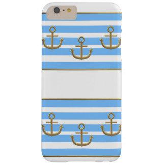 fondo blanco azul del ancla del oro funda barely there iPhone 6 plus