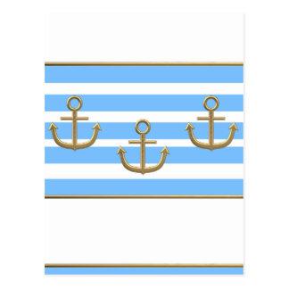 fondo blanco azul del ancla del oro postal