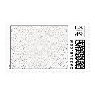 Fondo blanco de la imagen de la tela del cordón sello