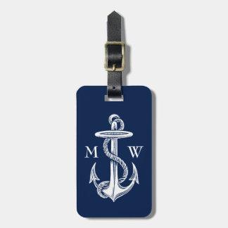 Fondo blanco de los azules marinos de la cuerda etiquetas bolsa