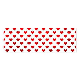 """Fondo blanco """"lunar"""" de los corazones brillantes tarjetas de visita mini"""