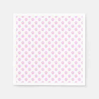 Fondo blanco rosa claro de la impresión de la pata servilletas de papel