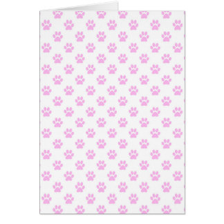 Fondo blanco rosa claro de la impresión de la pata tarjeta pequeña