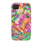 fondo brillante colorido fresco de los corazones d iPhone 4/4S fundas