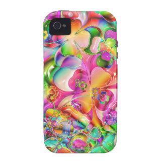 fondo brillante colorido fresco de los corazones iPhone 4/4S fundas