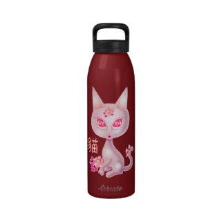 Fondo chino del rojo del arte del gato de Kawaii Botella De Agua